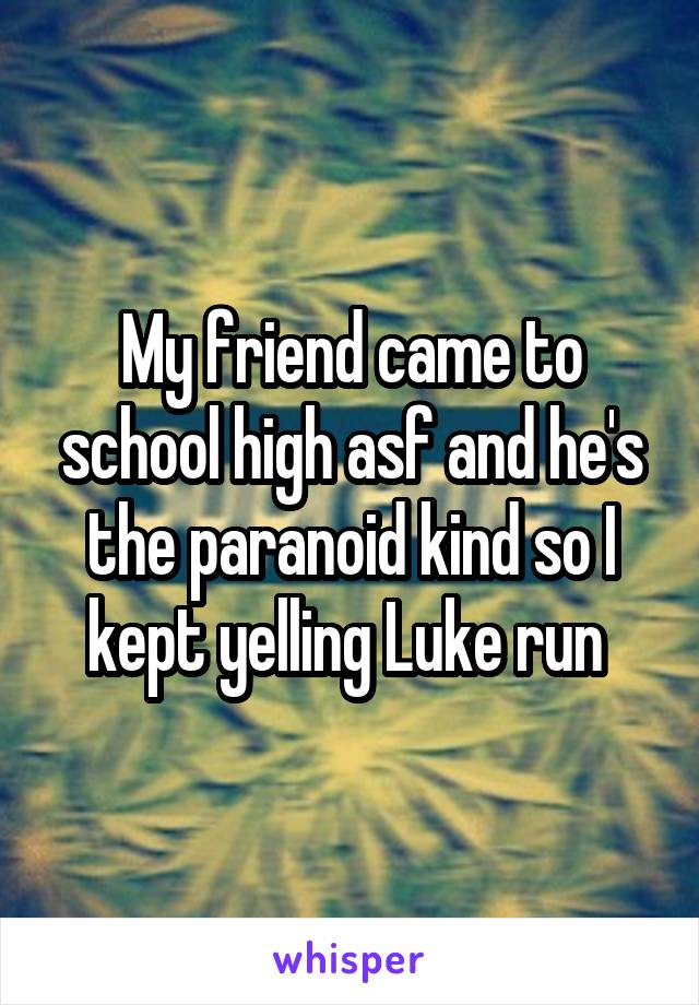 My friend came to school high asf and he's the paranoid kind so I kept yelling Luke run
