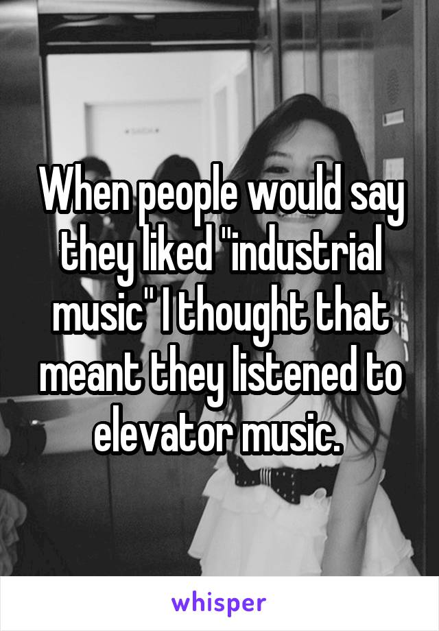 "When people would say they liked ""industrial music"" I thought that meant they listened to elevator music."