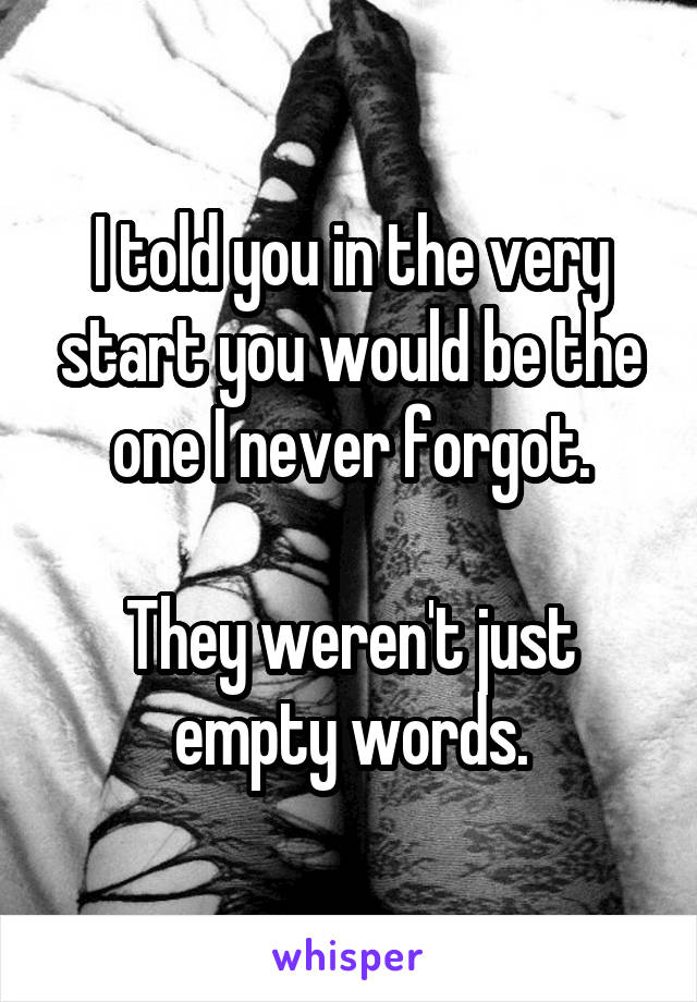 I told you in the very start you would be the one I never forgot.  They weren't just empty words.