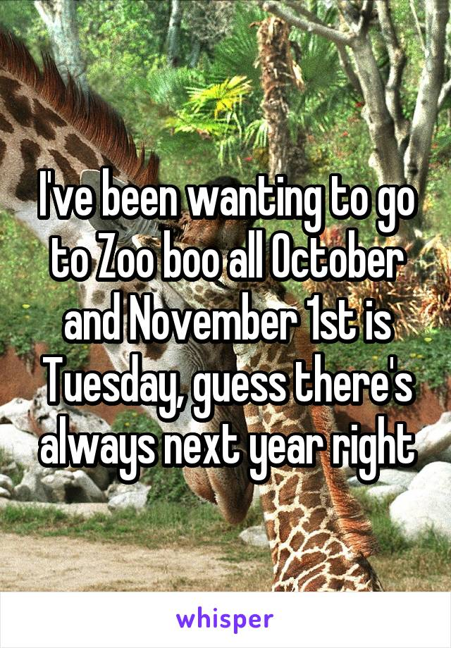 I've been wanting to go to Zoo boo all October and November 1st is Tuesday, guess there's always next year right