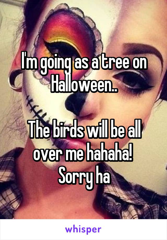 I'm going as a tree on Halloween..  The birds will be all over me hahaha!  Sorry ha