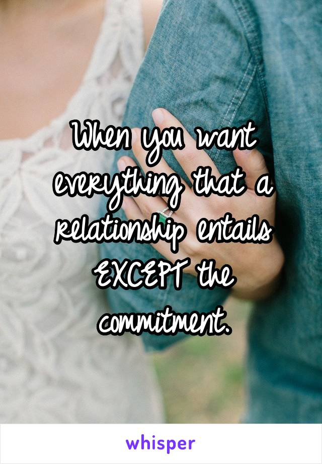 When you want everything that a relationship entails EXCEPT the commitment.