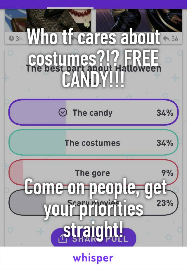 Who tf cares about costumes?!? FREE CANDY!!!      Come on people, get your priorities straight!
