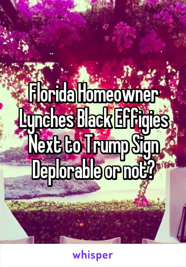 Florida Homeowner Lynches Black Effigies Next to Trump Sign Deplorable or not?