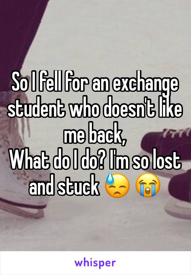 So I fell for an exchange student who doesn't like me back, What do I do? I'm so lost and stuck 😓 😭