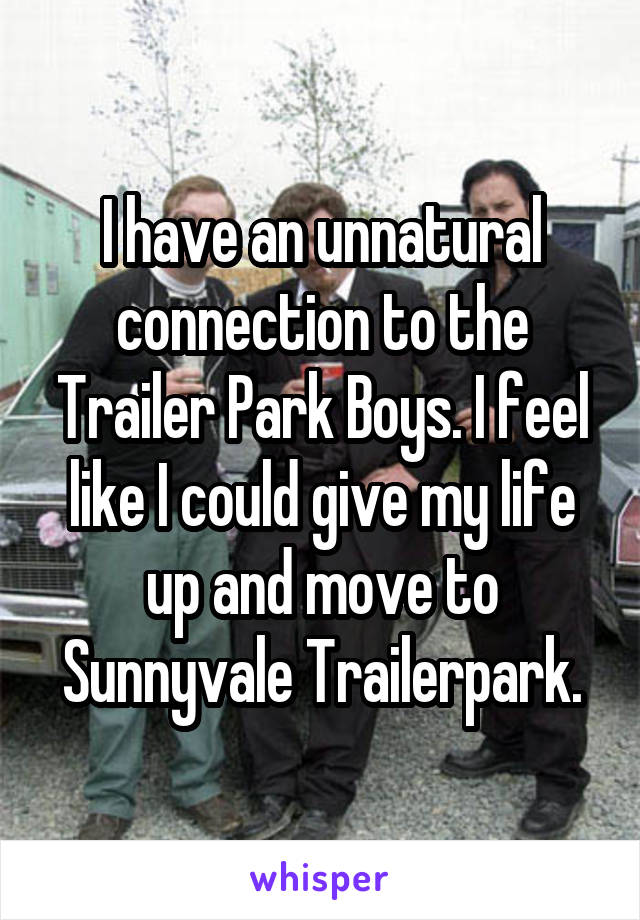 I have an unnatural connection to the Trailer Park Boys. I feel like I could give my life up and move to Sunnyvale Trailerpark.