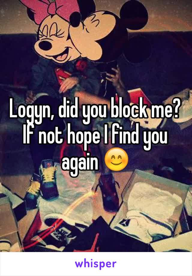 Logyn, did you block me?  If not hope I find you again 😊