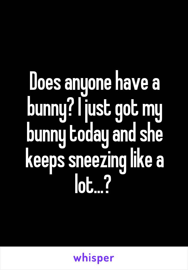 Does anyone have a bunny? I just got my bunny today and she keeps sneezing like a lot...?