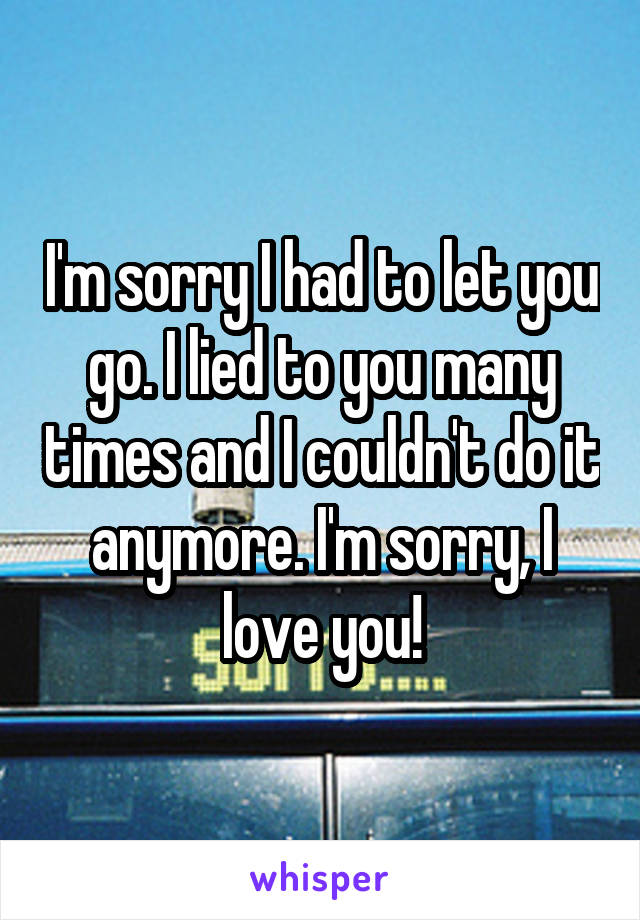 I'm sorry I had to let you go. I lied to you many times and I couldn't do it anymore. I'm sorry, I love you!