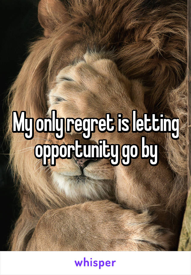 My only regret is letting opportunity go by