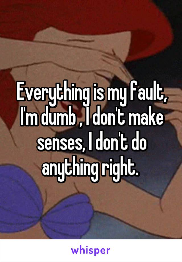 Everything is my fault, I'm dumb , I don't make senses, I don't do anything right.