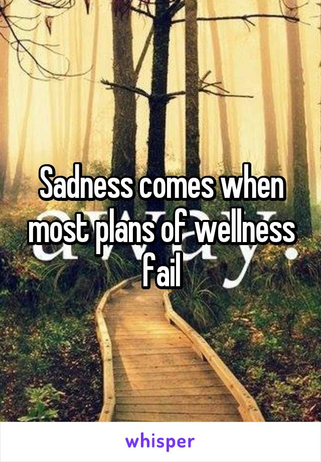Sadness comes when most plans of wellness fail