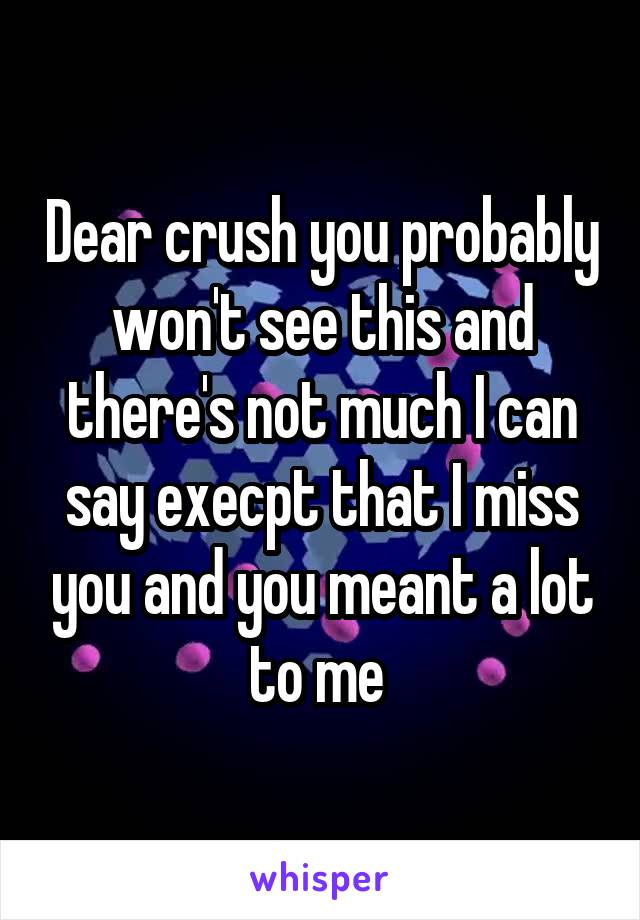 Dear crush you probably won't see this and there's not much I can say execpt that I miss you and you meant a lot to me