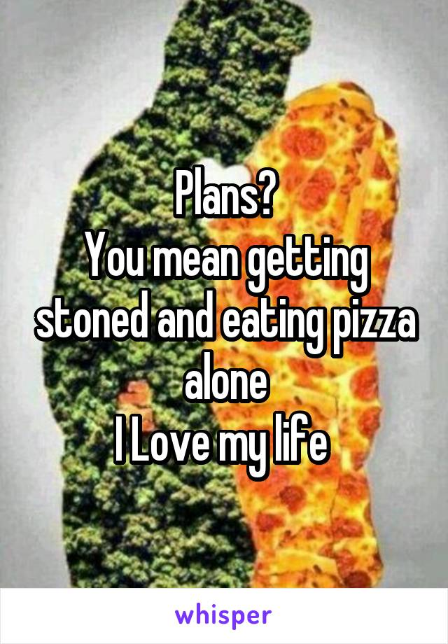 Plans? You mean getting stoned and eating pizza alone I Love my life