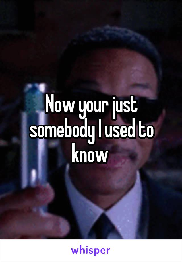 Now your just somebody I used to know