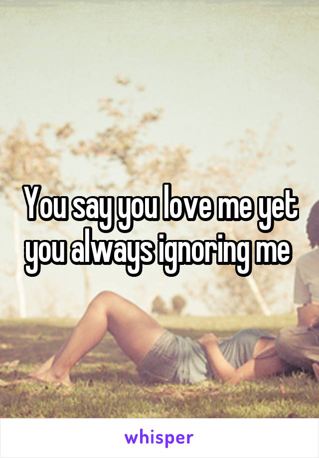 You say you love me yet you always ignoring me