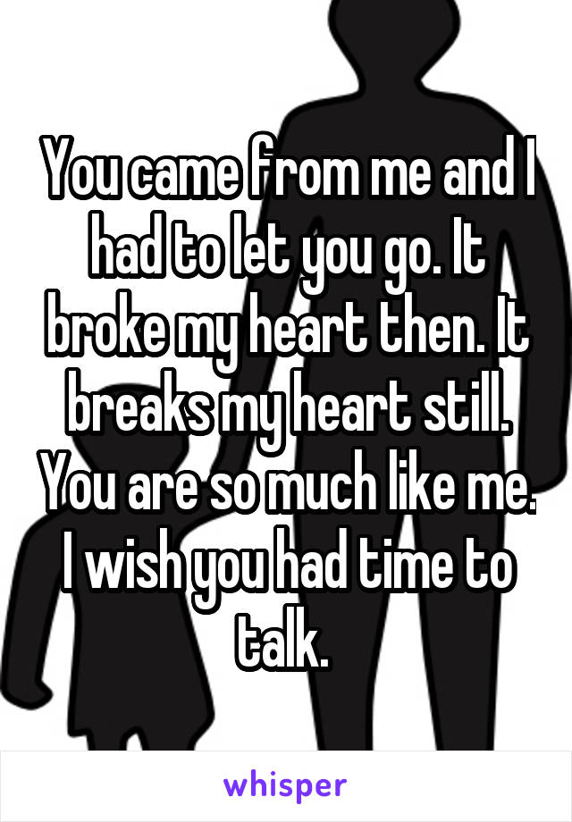 You came from me and I had to let you go. It broke my heart then. It breaks my heart still. You are so much like me. I wish you had time to talk.