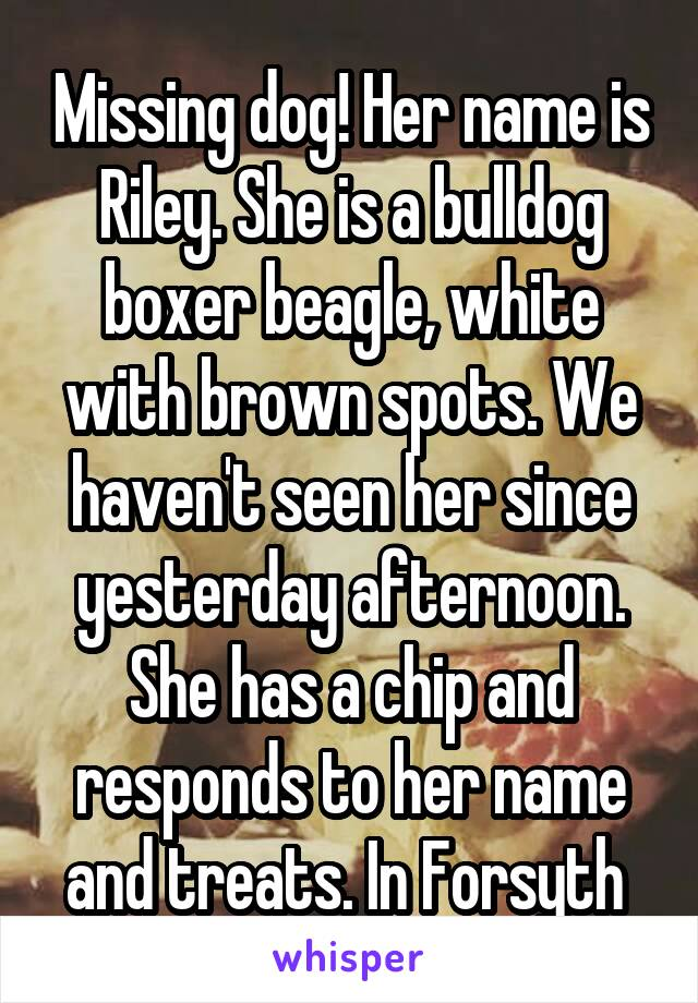 Missing dog! Her name is Riley. She is a bulldog boxer beagle, white with brown spots. We haven't seen her since yesterday afternoon. She has a chip and responds to her name and treats. In Forsyth