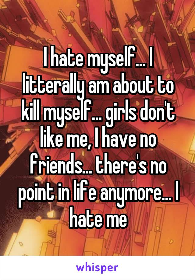 I hate myself... I litterally am about to kill myself... girls don't like me, I have no friends... there's no point in life anymore... I hate me