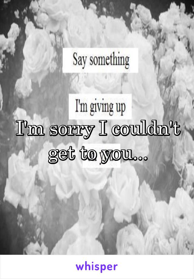 I'm sorry I couldn't get to you...