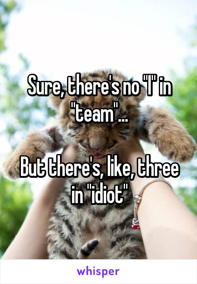 "Sure, there's no ""I"" in ""team""...  But there's, like, three in ""idiot"""