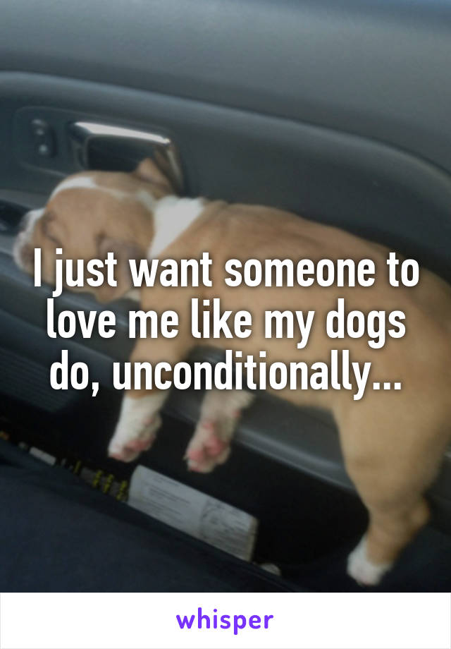I just want someone to love me like my dogs do, unconditionally...