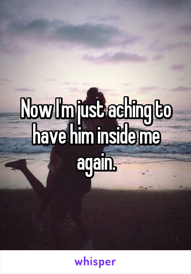 Now I'm just aching to have him inside me again.