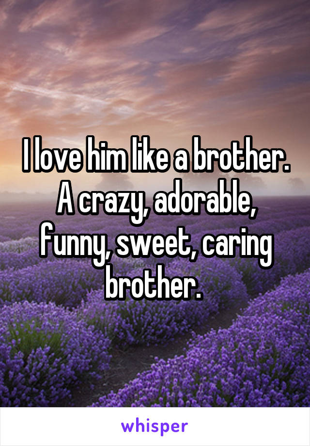 I love him like a brother. A crazy, adorable, funny, sweet, caring brother.