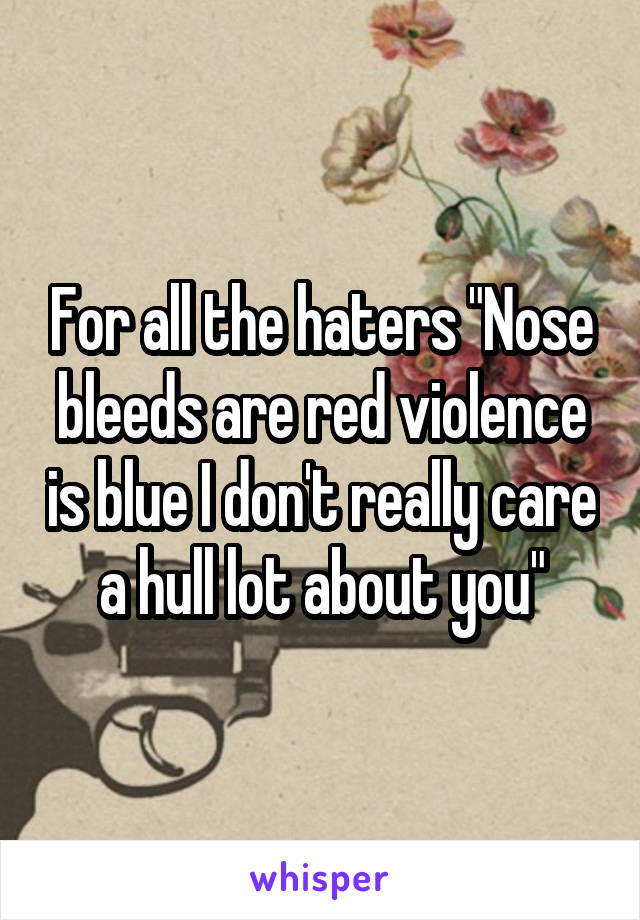 "For all the haters ""Nose bleeds are red violence is blue I don't really care a hull lot about you"""