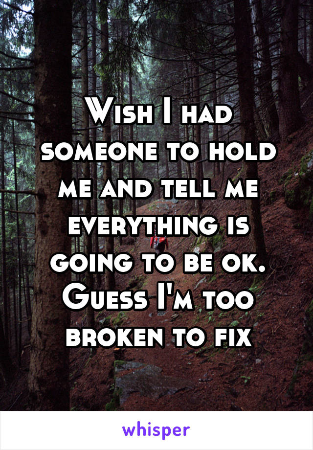 Wish I had someone to hold me and tell me everything is going to be ok. Guess I'm too broken to fix
