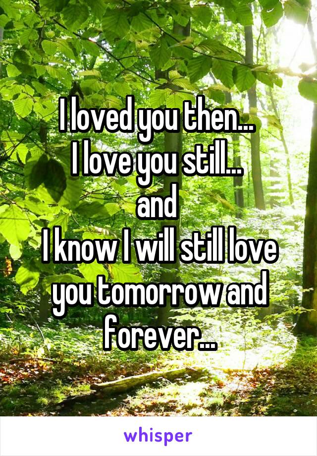 I loved you then...  I love you still...  and  I know I will still love you tomorrow and forever...