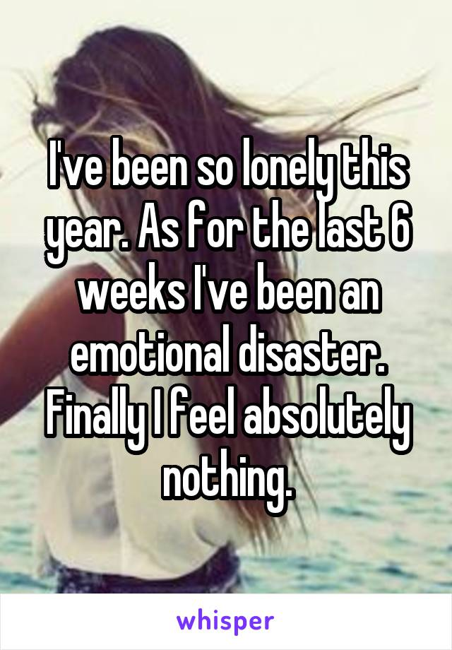 I've been so lonely this year. As for the last 6 weeks I've been an emotional disaster. Finally I feel absolutely nothing.