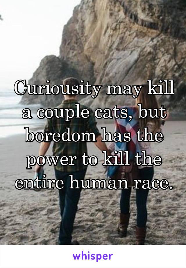 Curiousity may kill a couple cats, but boredom has the power to kill the entire human race.