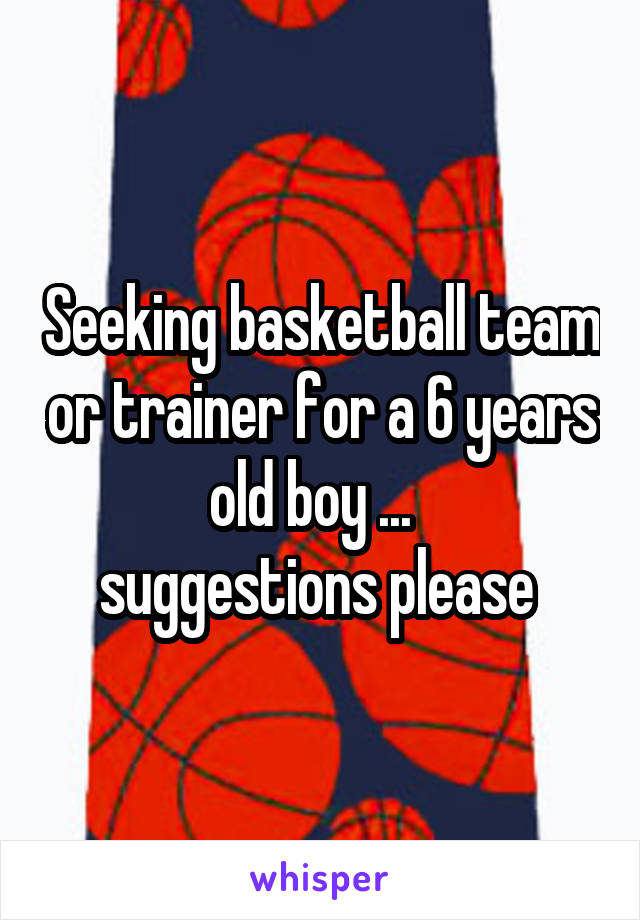 Seeking basketball team or trainer for a 6 years old boy ...   suggestions please