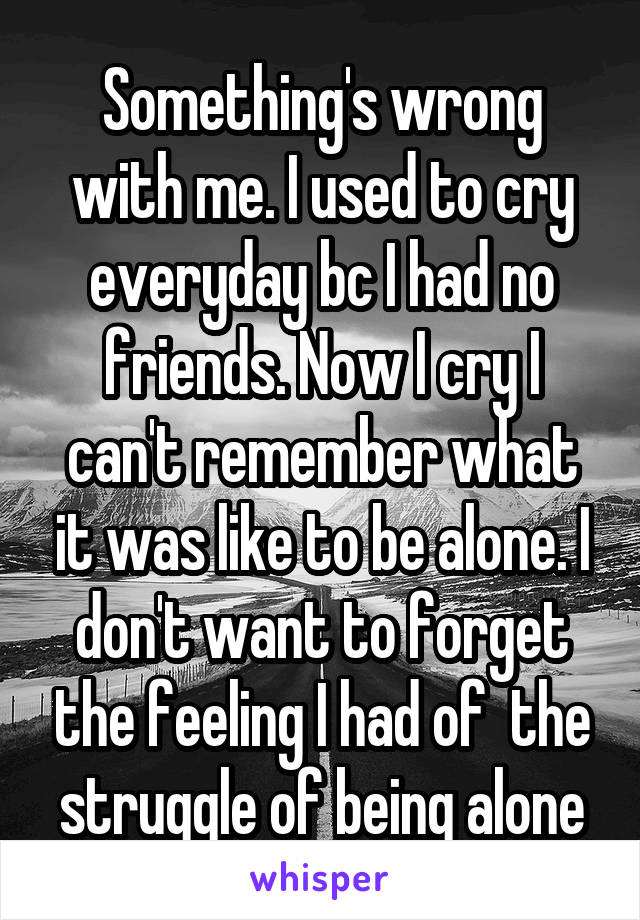 Something's wrong with me. I used to cry everyday bc I had no friends. Now I cry I can't remember what it was like to be alone. I don't want to forget the feeling I had of  the struggle of being alone