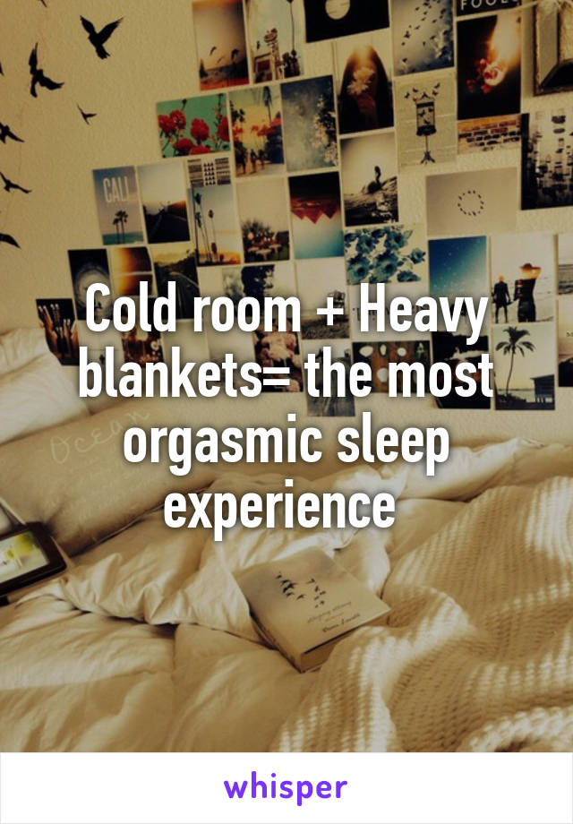 Cold room + Heavy blankets= the most orgasmic sleep experience
