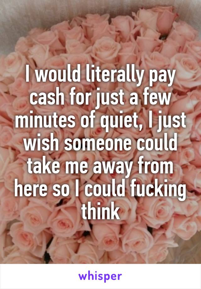I would literally pay cash for just a few minutes of quiet, I just wish someone could take me away from here so I could fucking think