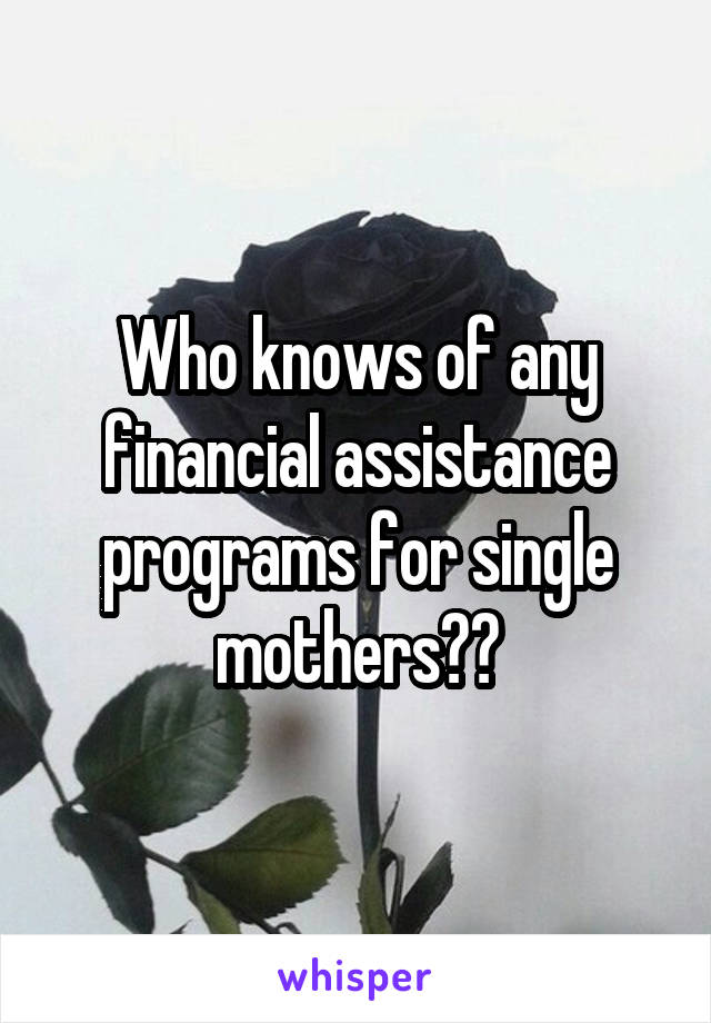 Who knows of any financial assistance programs for single mothers??