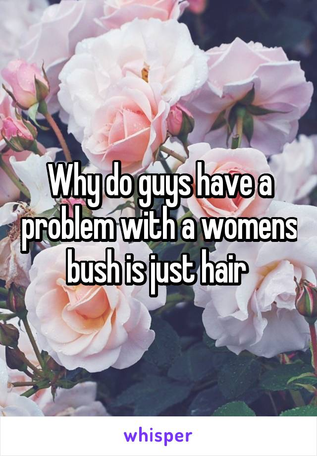 Why do guys have a problem with a womens bush is just hair
