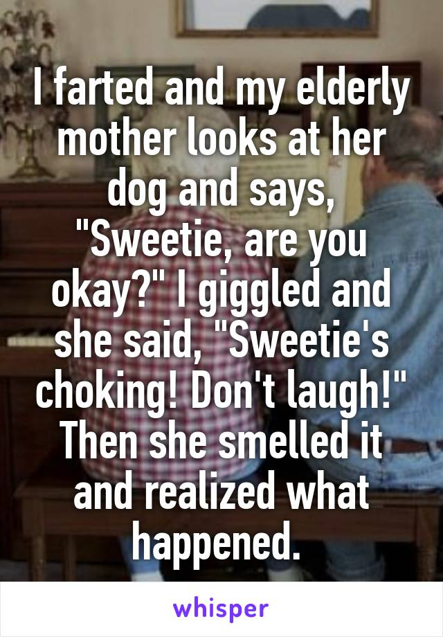 "I farted and my elderly mother looks at her dog and says, ""Sweetie, are you okay?"" I giggled and she said, ""Sweetie's choking! Don't laugh!"" Then she smelled it and realized what happened."