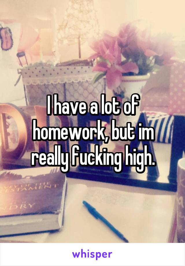 I have a lot of homework, but im really fucking high.