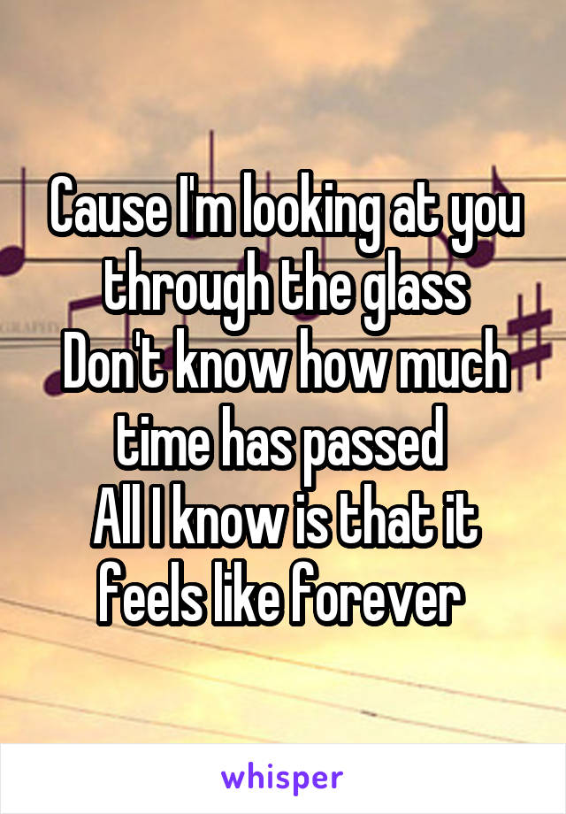 Cause I'm looking at you through the glass Don't know how much time has passed  All I know is that it feels like forever