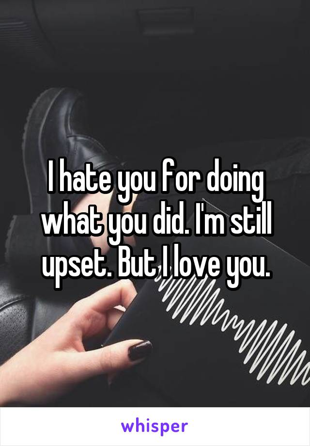 I hate you for doing what you did. I'm still upset. But I love you.