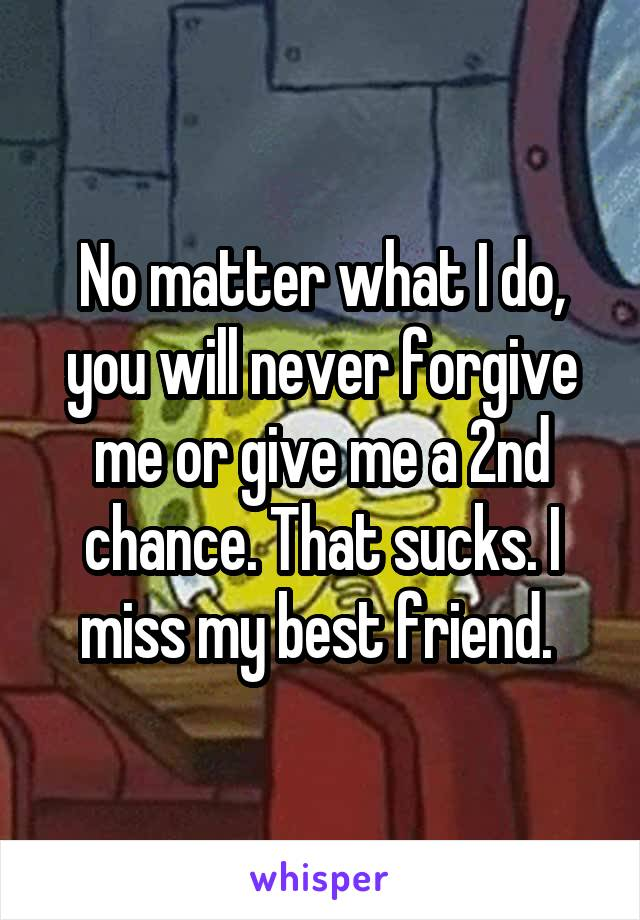 No matter what I do, you will never forgive me or give me a 2nd chance. That sucks. I miss my best friend.
