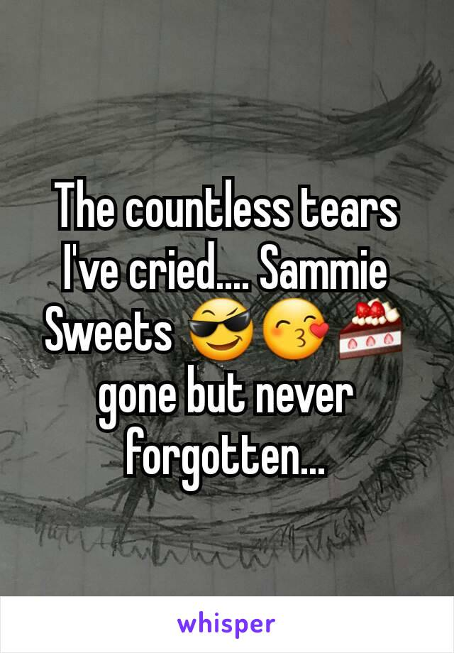The countless tears I've cried.... Sammie Sweets 😎😙🍰gone but never forgotten...