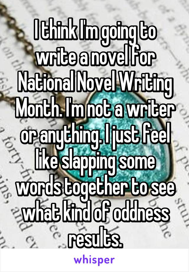 I think I'm going to write a novel for National Novel Writing Month. I'm not a writer or anything. I just feel like slapping some words together to see what kind of oddness results.