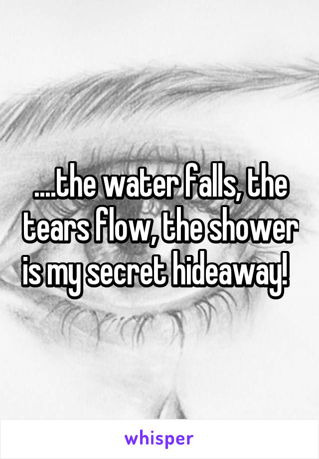 ....the water falls, the tears flow, the shower is my secret hideaway!