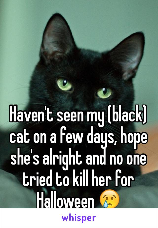 Haven't seen my (black) cat on a few days, hope she's alright and no one tried to kill her for Halloween 😢