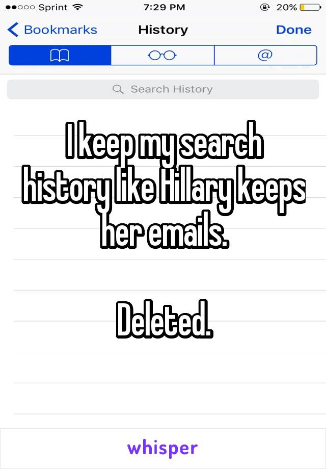 I keep my search history like Hillary keeps her emails.  Deleted.