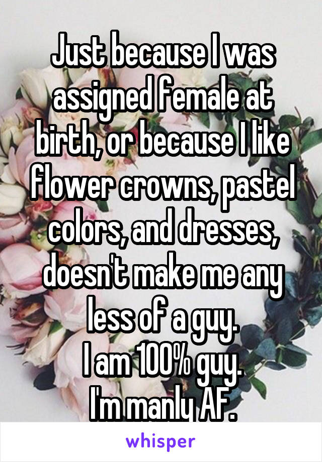 Just because I was assigned female at birth, or because I like flower crowns, pastel colors, and dresses, doesn't make me any less of a guy. I am 100% guy. I'm manly AF.